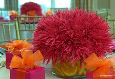 Hot pink Spider Mums wedding centerpiece. Fun and stylish color combinations: hot pink and orange, OR magenta and orange.
