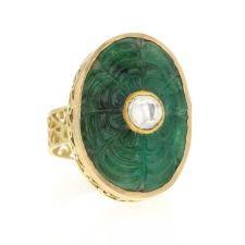 Karen Liberman   Carved Emerald Filigree Ring with Polki Diamond at Voiage Jewelry