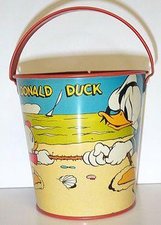 1938 Walt Disney Donald Duck Sand Pail Ohio Art