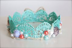 Mermaid Inspired Beach Baby - Aqua Blue Lace Crown with Sea Shells and Pearls…