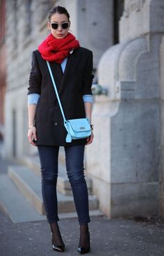 ACNE blazer,sweater and sunnies, scarf by Won Hundred, jeans by JBrand, heels Saint Laurent, bag is Tosca Blu