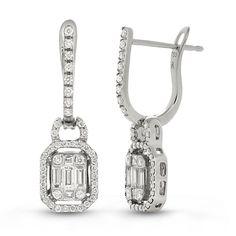 T W Diamond Earrings In 14k White Gold Sam S Club Drop