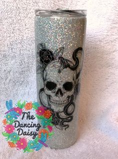 Tattoo skull / snake silver - skinny 20 oz double walled tumbler – The Dancing Daisy Designs Diy Tumblers, Custom Tumblers, Tumbler Designs, Mug Designs, Skeleton Hand Tattoo, Dancing Daisy, Glitter Cups, Monogram Design, Tumbler Cups