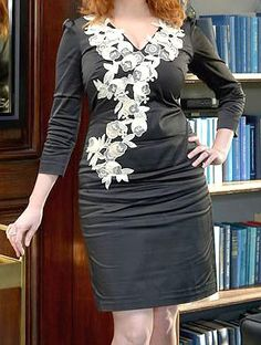 """This dress called """"a wrinkled mess."""" Her sharply-crushed hip wrinkles look incredibly sexy, she wears it beautifully!"""