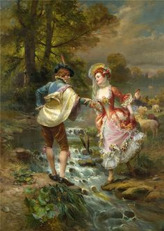 Find images and videos about art, painting and rococo on We Heart It - the app to get lost in what you love. Romantic Paintings, Classic Paintings, Old Paintings, Beautiful Paintings, Victorian Paintings, Victorian Art, Couple Art, Fine Art, Art And Illustration