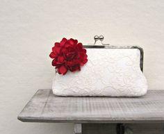 Clutch für die Braut, Outfit für die Hochzeit / bridal accessory: white clutch for the bride, wedding made by ConstanceHandcrafted via DaWanda.com
