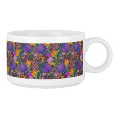 Colorful flowers and rainbows pattern in an all over print repeat.