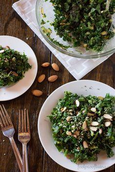 A salad recipe full of super foods like kale, avocado, hemp seeds and raw almonds.
