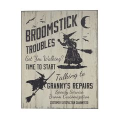 Broomstick Troubles Sign, $11.99 #Gordmans #Halloween #HalloweenDecor #Witches #Broomstick