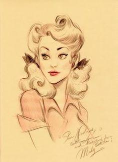 Rockabilly gal illustration - Cute hair!