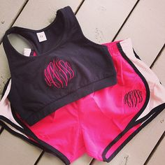 Monogrammed Sports Bra with Running Shorts by GladevilleFarmhouse, $42.00