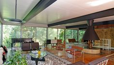 3 bedroom 3 bath house, located in Lake Forest, Illinois, was designed by modernist architect Jack Viks, a former student of Mies van der Rohe. The home was built in 1960 and features exposed I-beams, brickwork, spiral staircase, stand-alone fireplace, separate guesthouse, pool and 8-car (!!!!) garage.