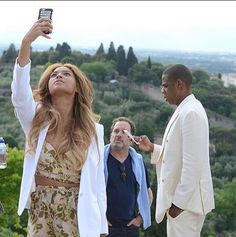 Beyonce & Jay Z in Italy. Beyonce is wearing a Zimmermann set