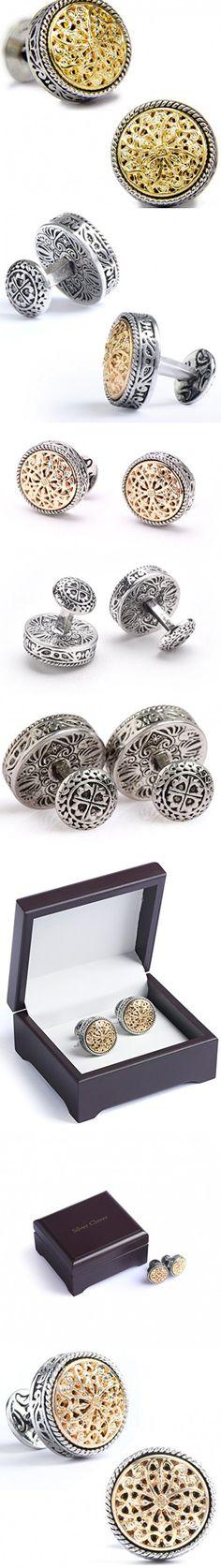 Men's Vintage Silver & 18K Gold Celtic Cross Filigree Floral Cufflinks, for Wedding, Bussiness, Gift Box Included