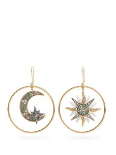 Sun and Moon embellished hoop earrings | Roberto Cavalli | MATCHESFASHION.COM US