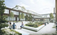 C.F. Møller Wins Vendsyssel Hospital Competition A coutyard would seems more lively and approachable with a lots of greens , sittings area and multiple huge openings