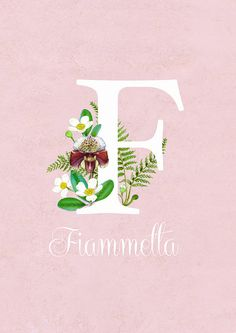 Floral letter print with your name - ABCs - Custom print - Floral Monogram