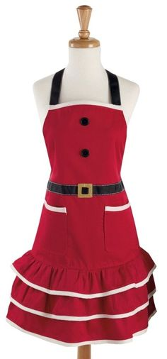 Claus Kitchen/Baking Apron for the Holidays - DII Santa Holiday apron is machine washable and one size fits most and include two side pockets for convenience around the busy holiday season; Apron has extra-long ties that allows for wrap around and a bow to be tied in the front if desired, flattering shape makes this apron great for most...  #Christmas #Christmas2015