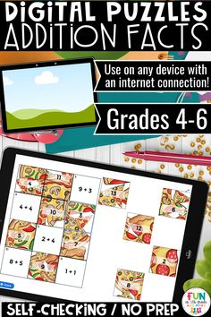 Review addition facts with this no prep, self checking digital puzzles.  Students can do these puzzles with any device with an internet connection! Can be used for independent work, partner work or distance learning!  Great for 4th grade, 5th grade or 6th grade! Figurative Language Activity, Help Teaching, Teaching Resources, Math Fact Practice, Math Websites, Addition Facts, Math Strategies, Math Facts, Language Activities
