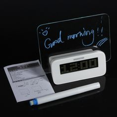 LED Fluorescent Message Board Digital Alarm Clock Calendar Thermometer
