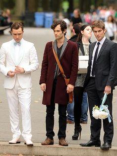 Can you hear wedding bells? Ed Westwick, Penn Badgley and Chace Crawford get into character Monday on the New York City Gossip Girl set.