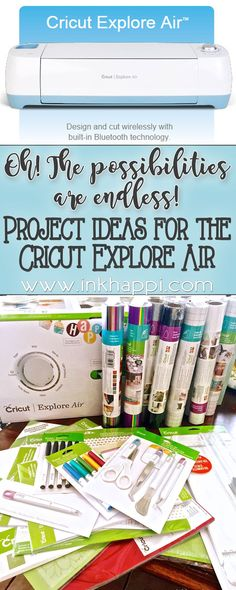 Why I love my Cricut and some Cricut Explore project ideas I can't wait to do! I'm sharing why I love my Cricut Explore Air and all the exciting Cricut Explore project ideas I can't wait to do! I love happy mail! Do you know what happy Cricut Air 2, Cricut Vinyl, Cricut Help, Cricut Fonts, Silhouette Cameo, Silhouette Portrait, Cricut Explore Projects, Cricut Explore Air 1, Cricut Cuttlebug
