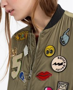 b6085a39427 Image 6 of OVERSIZED BOMBER JACKET WITH PATCHES from Zara Cool Jackets