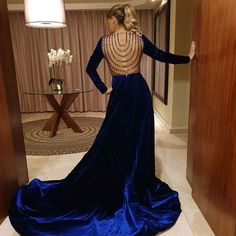 Nawal ElZoghby in royal blue dress👗👗.. designed by George Hobeika .. and made from Velvet