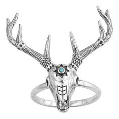 Midsummer Star Third Eye Aztec Skull Ring ($65) ❤ liked on Polyvore featuring jewelry, rings, silver, star jewelry, silver star ring, skull head ring, silver jewellery and aztec jewelry
