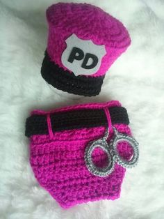 Newborn Police Officer Hat and Diaper Cover set,  Baby Police Officer PHOTO PROP