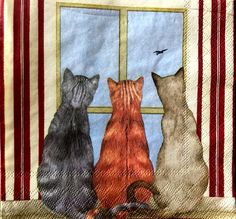 Decoupage Napkins,THREE CATS , 13 inches (33cm) for Decoupage, Paper-Craft and Collage