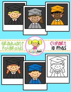 ***BIRTHDAY BASH CELEBRATION #5!*** My Graduate Polaroid Kids Free set has 10 pngs & all blacklines are included!!! I've created these Graduate Polaroids in a small sample of boys & girls! This set includes the following colors: black, gray, orange, & blue graduation gowns
