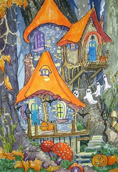 Halloween Decorating Storybook Cottage Series- Alida Akers