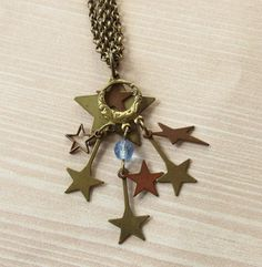 Star Necklace Star Charm Pendant on Antique Brass Chain