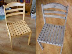 Dřevěná židle natřená šedou Blarney Stone, bílou a černou.