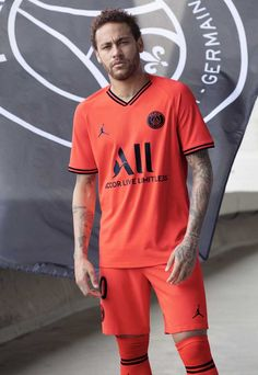 PSG will now wear the famous Jumpman logo on its new statement-making away strip for the season adorned in the signature infrared colour hue. Psg, Aubameyang Arsenal, Air Jordan Vi, Jumpman Logo, Football Outfits, Newest Jordans, European Football, Neymar Jr, One Team