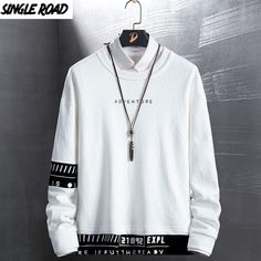 Crewneck Sweatshirt Men Autumn Japanese Streetwear Sweatshirts For Men Hip Hop Sweatshirts Women Harajuku White Male Best Hoodies For Men, Trendy Hoodies, Teen Jungs Outfits, Boys Clothes Style, Japanese Streetwear, Indian Men Fashion, Mens Clothing Styles, Mens Sweatshirts, Crew Neck Sweatshirt