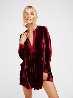 Choose Me Velvet Mini | The perfect dress for this season, this gorgeous mini features a romantic velvet design with silky accents at the V-neckline and sleeve cuffs. Slouchy front pocket details. Effortless silhouette.