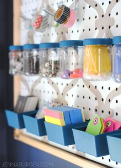 WORK SPACE REVAMP: getting organized and creating an office command center using a framed pegboard and organizational supplies. Office Revamp by Jenna Burger Design Pegboard Craft Room, Painted Pegboard, Pegboard Organization, Office Organization At Work, Craft Rooms, Organizing Ideas, Work Planner, Getting Organized, Projects To Try