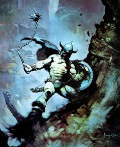 Warrior with Ball and Chain by Frank Frazetta Art Poster inch Frank Frazetta, Red Sonja, Illustrations, Illustration Art, Dcc Rpg, Science Fiction Kunst, Bd Art, Conan The Barbarian, Fantasy Kunst