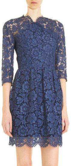 Carven Lace Dress in Blue (navy)