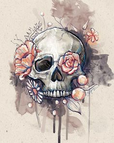 Flower eye skull... something similar to this (same colours, no blurred background) Arm Tattoos, Body Art Tattoos, Flower Tattoos, Tattoo Thigh, Tatoos, Skull Thigh Tattoos, Upper Thigh Tattoos, Thigh Tattoo Designs, Butterfly Tattoos