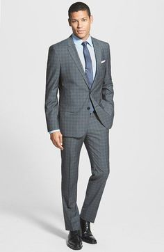 BOSS HUGO BOSS 'Huge/Genius' Trim Fit Check Suit available at #Nordstrom