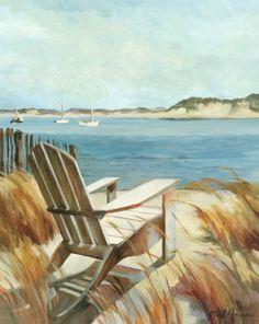 Adirondack Chair by the Beach Painting. Marilyn Hageman