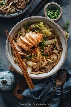 Chicken Udon Soup - A super simple one-pot noodle soup that guarantees maximum satisfaction with beautifully charred chicken, rich soup, thick noodles, and tender veggies. Udon Soup Recipe, Soup Recipes, Vegetarian Recipes, Cooking Recipes, Vegetarian Soup, Vegetarian Dinners, Chicken Udon Noodles, Udon Noodle Soup, Miso Soup