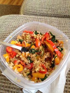 Advocare Cleanse Phase 4oz ground turkey with taco seasoning, 1/2cup brown rice, sautéed spinach, onion and peppers in Coconut cooking spray, finish with avacado slices (could also add salsa and cilantro #cleaneating #AdvoCare #24daychallenge