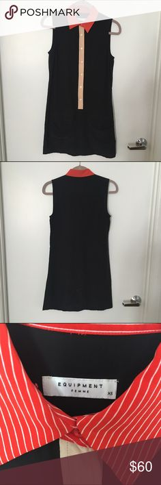Equipment - Lucida Silk Sleeveless Dress (size XS) 100% silk. Equipment Lucida sleeveless dress has contrasting colors at collar and buttons, with 2 flap front pockets. Gently worn, still in great condition with some light wear and tear (no visible damage). Size is XS. Equipment Dresses Mini