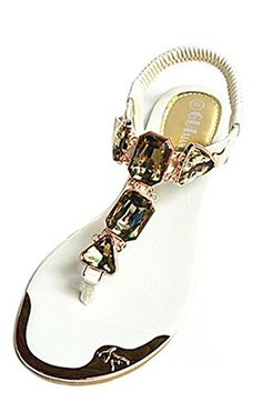 c63e0f9ae09e Fansela(TM) Women s Summer Style Fashion Crystal PU Leather Flat Sandal    Check out this great image   Strappy sandals