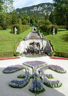 View of the Cascade with the Neptune Fountain and Music Pavilion, Linderhof Linderhof Palace, Parks, Bavaria Germany, Beautiful Gardens, Fountain, Beautiful Places, History, Pavilion, Castles