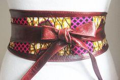 Ankara Pink Print and Brown Leather Obi Belt   wax print Obi Belt   Waist Belt  Corset Belt  Plus size belts